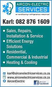 Airconditioning, Refrigeration, Electrical and Appliances - Sales, Repairs, Installations and MaintenanceOver 30 years experience in the domestic, commercial and industrial engineering field.All electrical work, lighting, plugs and power supplies install repair.Airconditioning sales, supply, installation, repairs and servicing.Fridges repaired not cooling, short of gas, removing bypass repairs and service.We do quotations and supply, install, service and maintain airconditioners and…