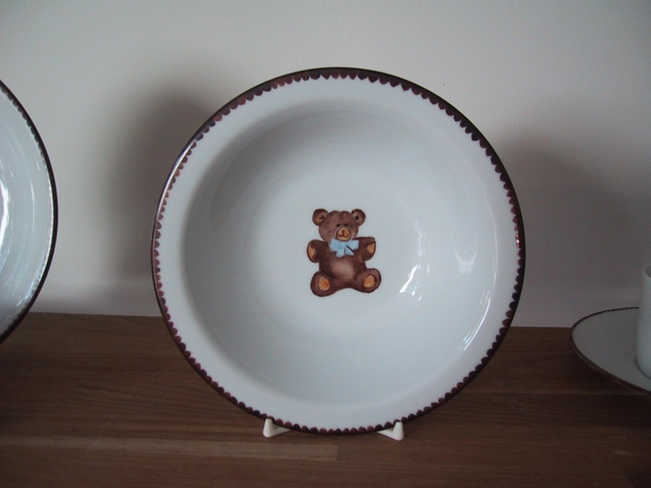 deep bowl handpainted bear on Limoges porcelain teddy bear collection, designer Patricia Deroubaix, hand painted in Limoges porcelain. cereal bowl/ all shapes on special orders