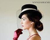 Black Hat, Top Hat, Kentucky Derby Hat, Dubai World Cup Hat,  Steeplechase Hat, Royal Ascot, Famous Hat Luncheon Hat,