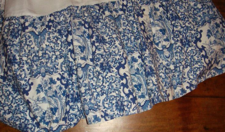 RALPH LAUREN Queen Porcelain Blue White TAMARIND Toile Bedskirt Dust Ruffle #RalphLauren #Asian