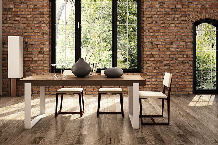 Modern oak dining table - FRAME. Size: 200x90x76 cm. Colour: Pure. - www.miloni.pl/en MILONI: wooden table, oak table, natural wood table, table design, furniture design, modern table