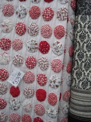 Red & white yo yo quilt by laverne