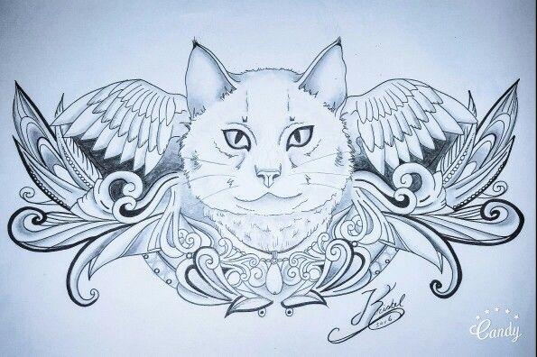 Tattoo design sketch tattoo drawing cat