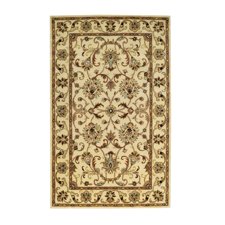 Georgia Hand Tufted Rug Ivory (5' x 8') (Ivory), Brown, Size 5' x 8' (Wool, Floral)