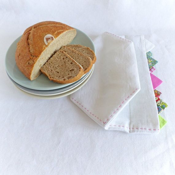 Bread basket in white linen form Join us for Dinner by TableStories