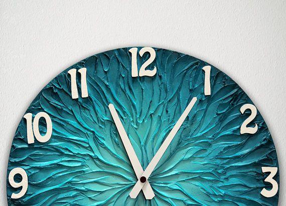 #blue #clock #interior #design Large BLUE WALL CLOCK 15.7 inch 40 cm diameter Blue Home