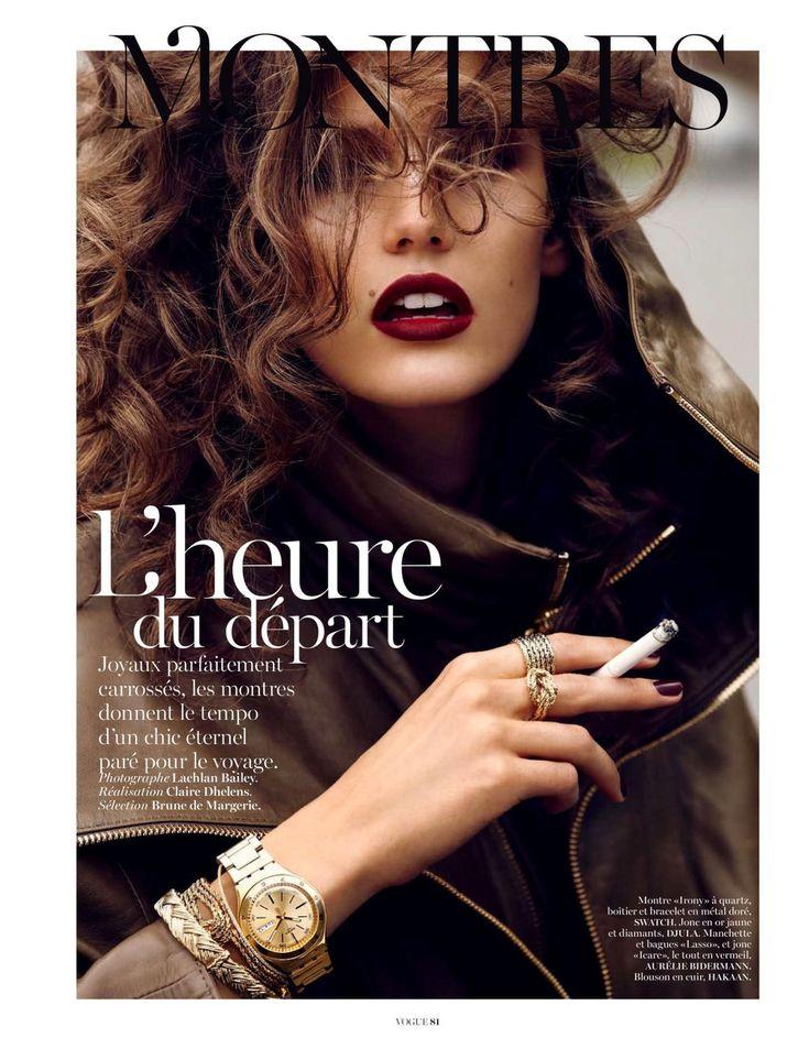 Vogue Paris (nov 2012) ~ watch from Swatch, bijoux from Djula and Aurelie Bidermann ~ Section: Brune de Margerie ~ Réalisation: Claire Dhelens