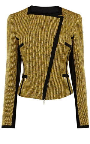 Yellow tweed biker jacket.