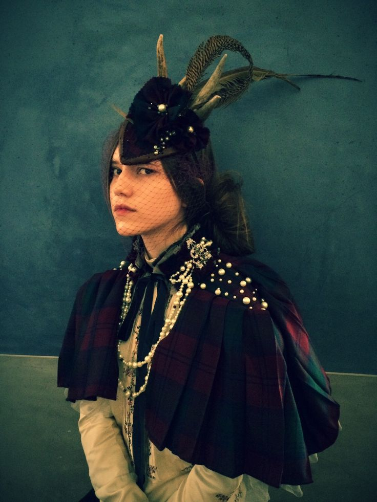 'Lady Highlander' Headdress and Cape created from antique tartan, antlers, pheasant feathers and vintage pearls by Mascherina. Photo - Melora Walters Model - Joanna Walsh