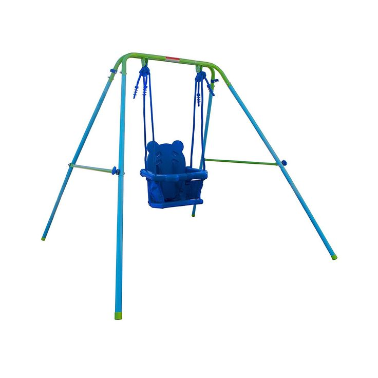 ALEKO BSW02 Toddler Baby Swing Portable Indoor Outdoor Folding Safety Chair Swing Seat Playground Accessory, Blue