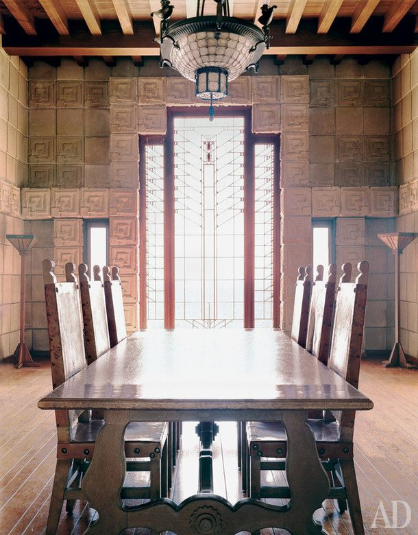 The Dining Room On First Floor Of Frank Lloyd Wrights Ennis House Late Art Nouveau Wrought Iron Chandelier Came Here Course Without