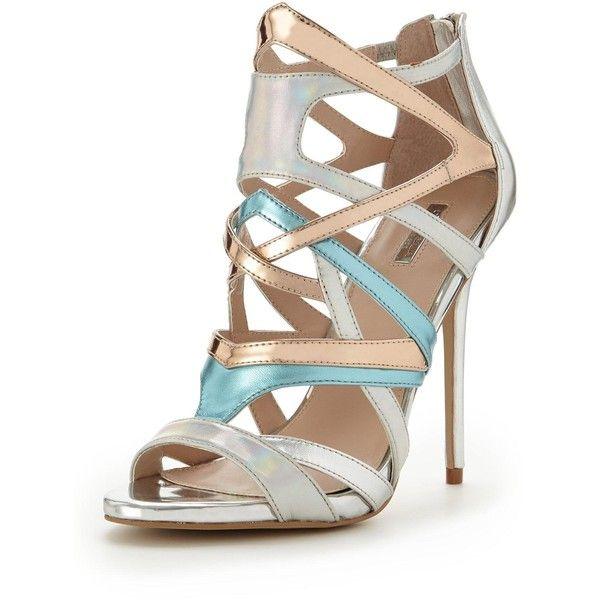 Carvela Gum Multistrap Metallic Sandal ($170) ❤ liked on Polyvore featuring shoes, sandals, metallic strappy sandals, strappy stiletto sandals, metallic sandals, silver strappy shoes and silver strappy sandals