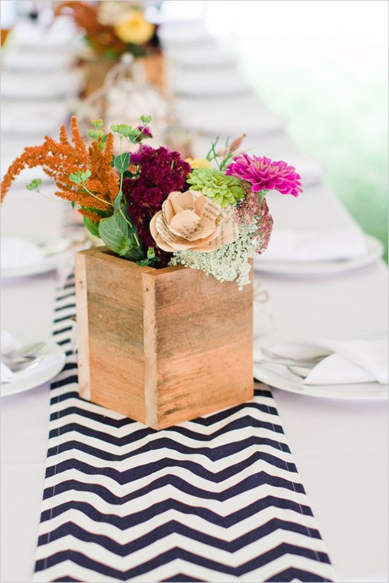 Rustic outdoor gold blue and orange wedding flower box