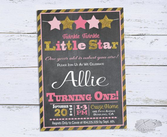 Twinkle Twinkle Little Star Birthday Invitations, Chalkboard Girl 1st Birthday Invite Printable, Pink and Gold First Birthday Party Invites by X3designs