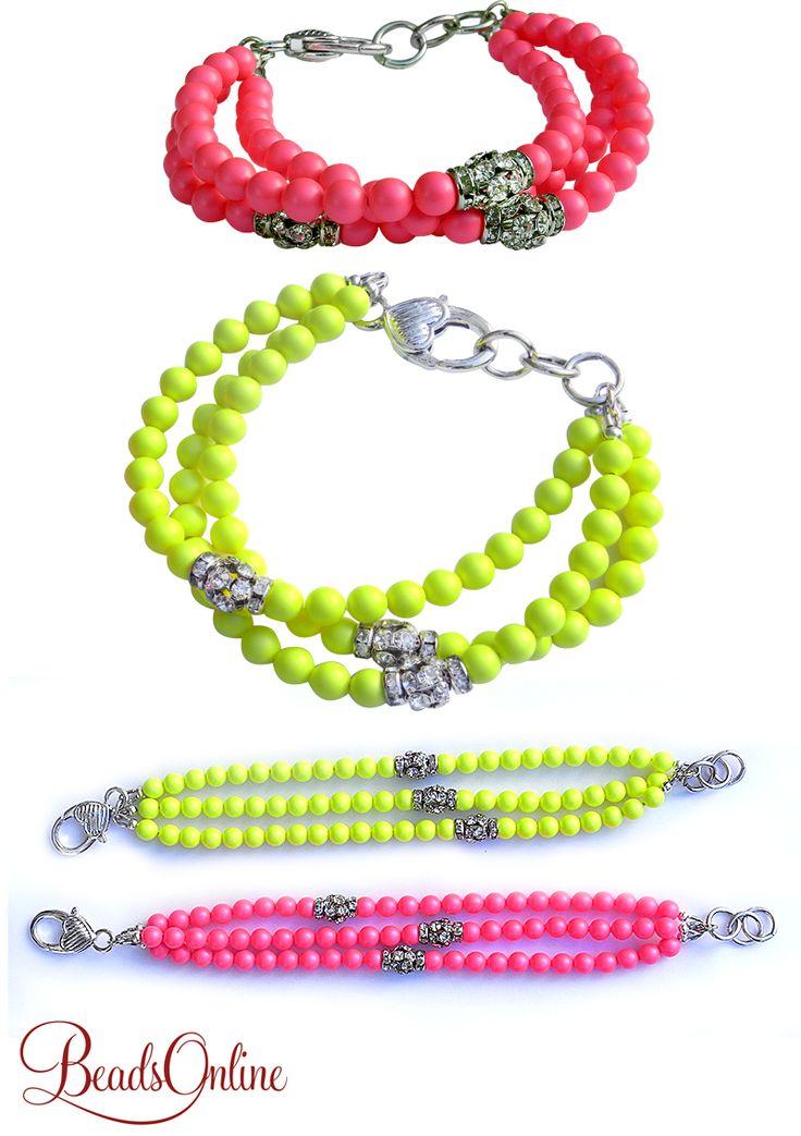 Tutorials | Swarovski Neon Pearl Rhinestone Bracelet | Handmade Fashion Jewellery – Devoted to DIY Jewellery