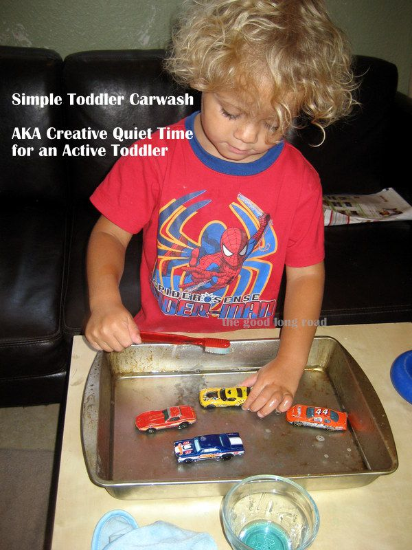 Simple Toddler Car Wash - Great for quiet time and fine motor skills. Kept my very high energy little guy focused and quiet for quite some time #ece #totschool #preschool #carsplay #finemotorskills