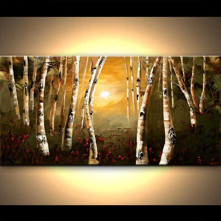Birch Forest Oil Paintings Canvas