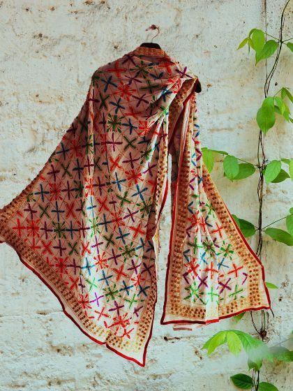Shop Online #Multicolor #phulkari #handembroidery on white #dupatta #phulkaridupatta #whitedupatta