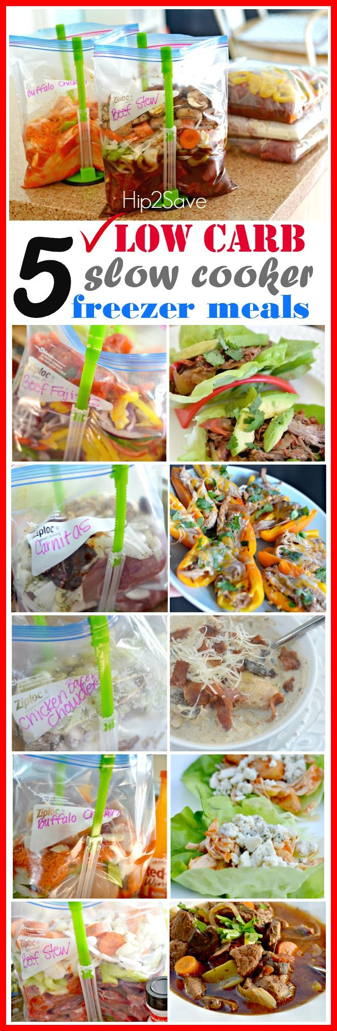 Looking to save time and effort? Here are 5 low carb slow cooker freezer meals that will make your life easier. When you visit the website there's free printable grocery list to make it easy for you when you go shopping for the ingredients. For more ideas on meals and ways to save visit Hip2Save.com