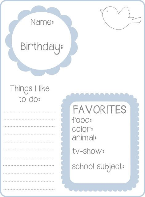 get to know you page for Activity Days or other Primary class.