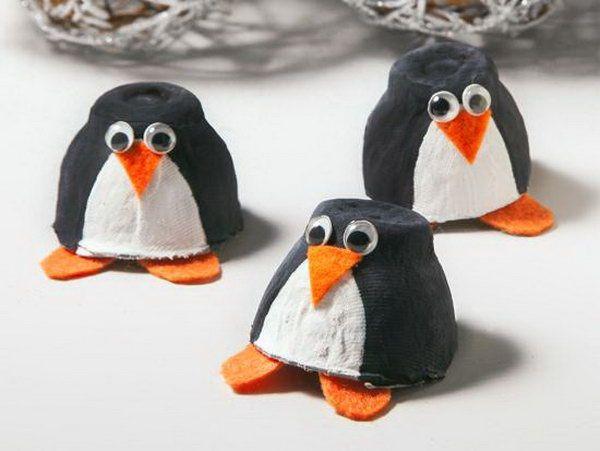 Egg Carton Penguin, Cute Christmas Penguin Crafts for Kids, http://hative.com/cute-christmas-penguin-crafts-for-kids/,