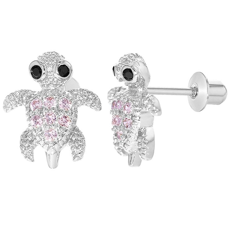 Rhodium Plated Pink Crystal Small Turtle Earrings with Screw Backs for Girls * Check this awesome product by going to the link at the image. (This is an affiliate link) #Earrings