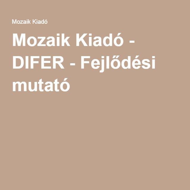 Mozaik Kiadó - DIFER - Fejlődési mutató