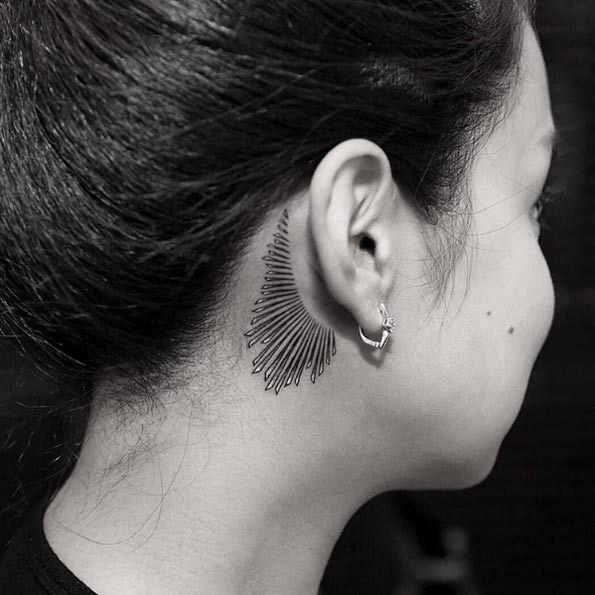 Jewelry Behind The Ear Tattoo by Balazs Bercsenyi