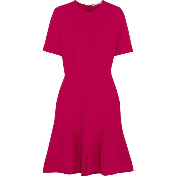 Stella McCartney Sierra stretch-crepe dress (12.360 ARS) ❤ liked on Polyvore featuring dresses, short-sleeve dresses, fuschia pink dress, stella mccartney, fuchsia dress and fuchsia pink dress