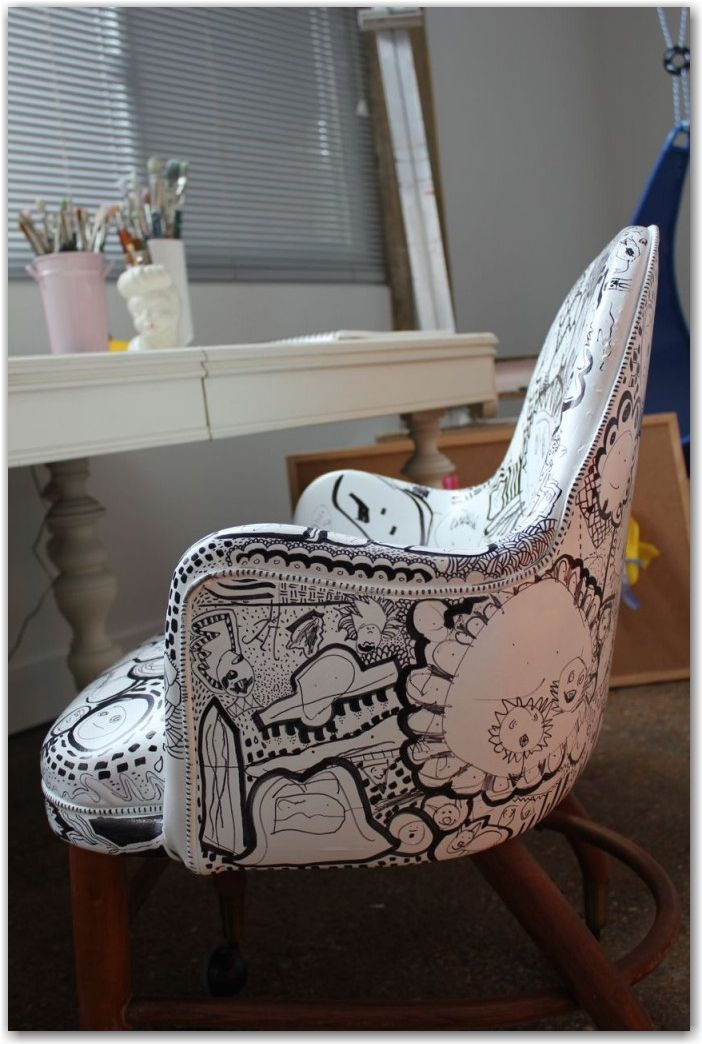 just paint an old vinyl chair white and then draw on it with sharpie! I did this once, years ago, to an old office chair.
