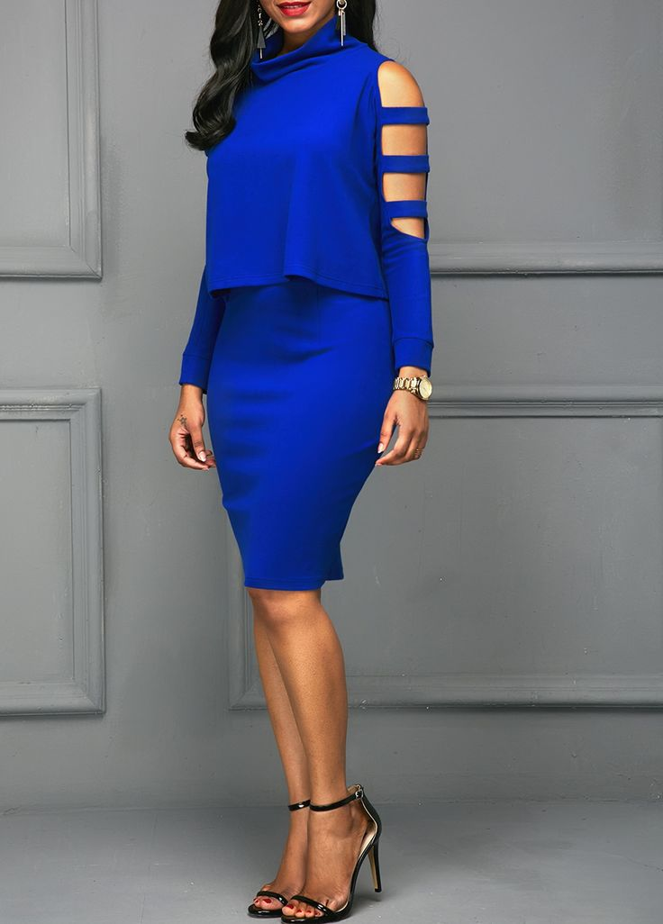 Royal Blue Ladder Cutout Sleeve Top and Skirt | Rosewe.com - USD $35.06