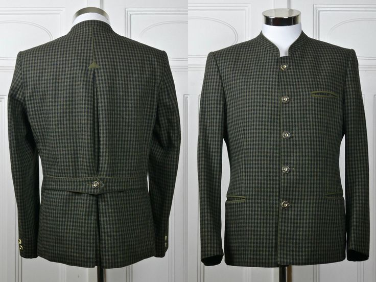 Trachten Jacket, Austrian Vintage Dark Olive Green Black Check Blazer w Faux Antler Buttons, Janker Oktoberfest Jacket: Medium, 38 US/UK by YouLookAmazing on Etsy