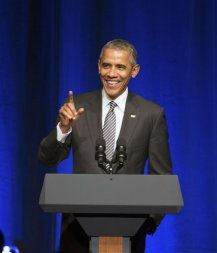 President Barack Obama speaks at a Democratic National Committee LGBT fundraising gala, Sunday, Sept. 27, 2015, held at Gotham Hall in New York. (AP Photo/Andrew Harnik)