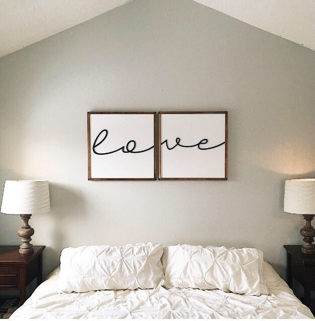 Above Bed Sign Bedroom Decor Love Wood Sign Framed Wood Sign