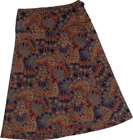 Wrap a round all cotton skirts. Indo print, blue. www.marketique.com.au