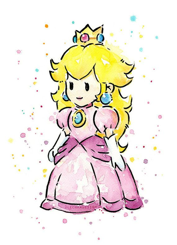 Princess Peach Portrait Watercolor Art Print Geek by OlechkaDesign