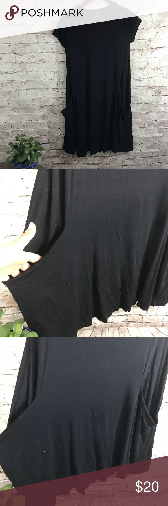 ASOS maternity black loose dress In gently used condition . Great loose fit . Short sleeves. Pockets .  Can fit Size small  original size 4 ASOS Maternity Dresses Midi