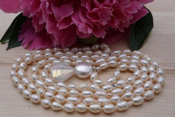 Wedding necklace, 108 Fresh Water Pearl and Swarovski Crystal Mala, hand knotted and finished with a glass bead and Swarovski pearl.