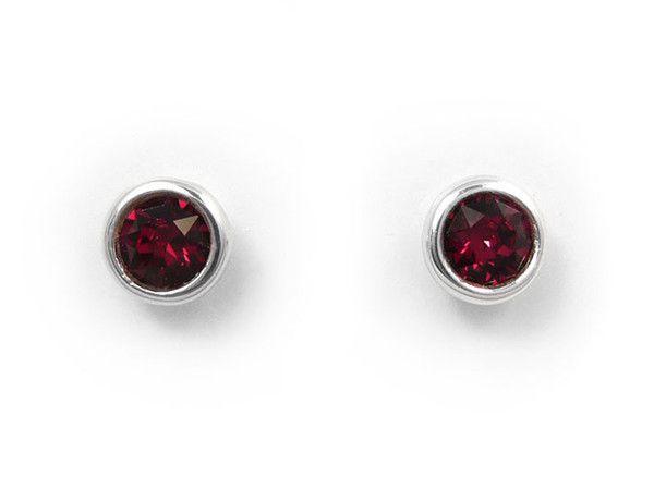 Birthstone Stud Earrings - July Ruby
