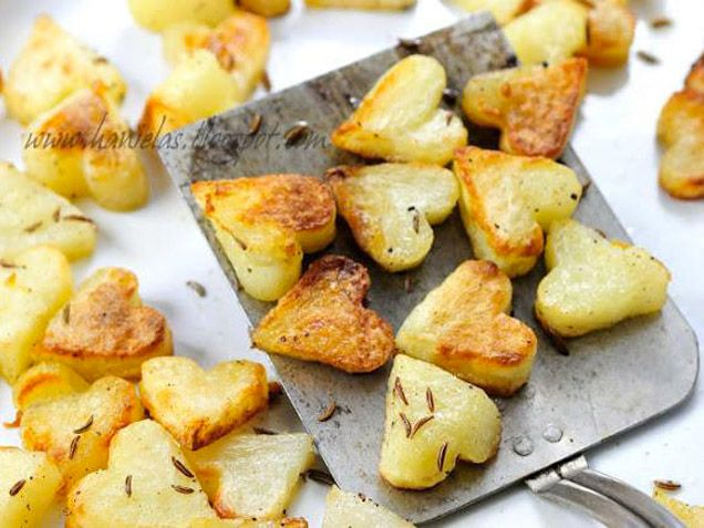 Roasted Heart Potatoes. Is this the perfect side dish to your Valentine's Day dinner? We think so.