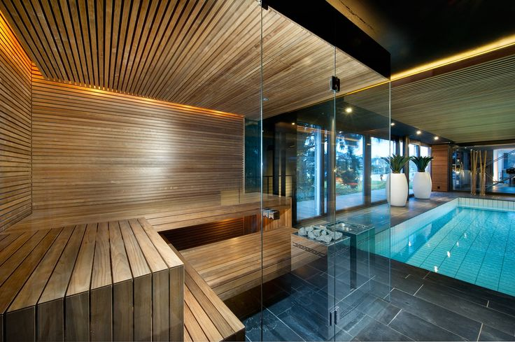 Stunning Kung Sauna from Switzerland Pool Side Wellness Sauna