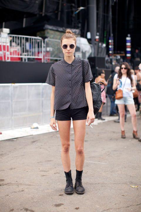 Tatiana, model Equipment shirt, vintage shorts, Doc Martens boots.Favorite Governors Ball act: Cut Copy.