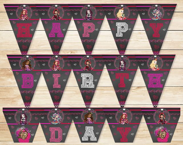 Ever After High Birthday Banner Chalkboard * Ever After High Happy Birthday Banner * Ever After High Sign * Ever After High Favors