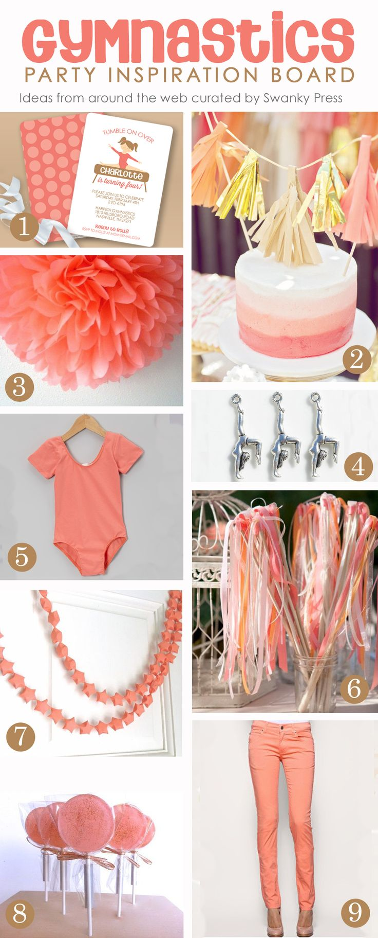 Love this party idea! gymnastics party inspiration coral color scheme  #gymnastics #partyidea #gymnasticsparty #coral #partyfavor #coralparty