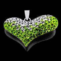 PV7050SWSS - Srdce - strieborný prívesok so Swarovski krištálmi strieborné srdiečko so zelenými swarovski krištáľmi  #supersperky #krasnesperky