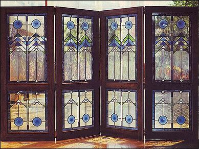 Frank Lloyd Wright Stained Glass | Frank Lloyd Wright inspired 4-piece folding screen, 5 feet tall.