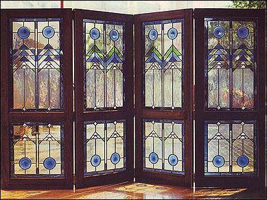 Frank Lloyd Wright Stained Glass | Frank Lloyd Wright inspired 4-piece folding screen, 5 feet tall.