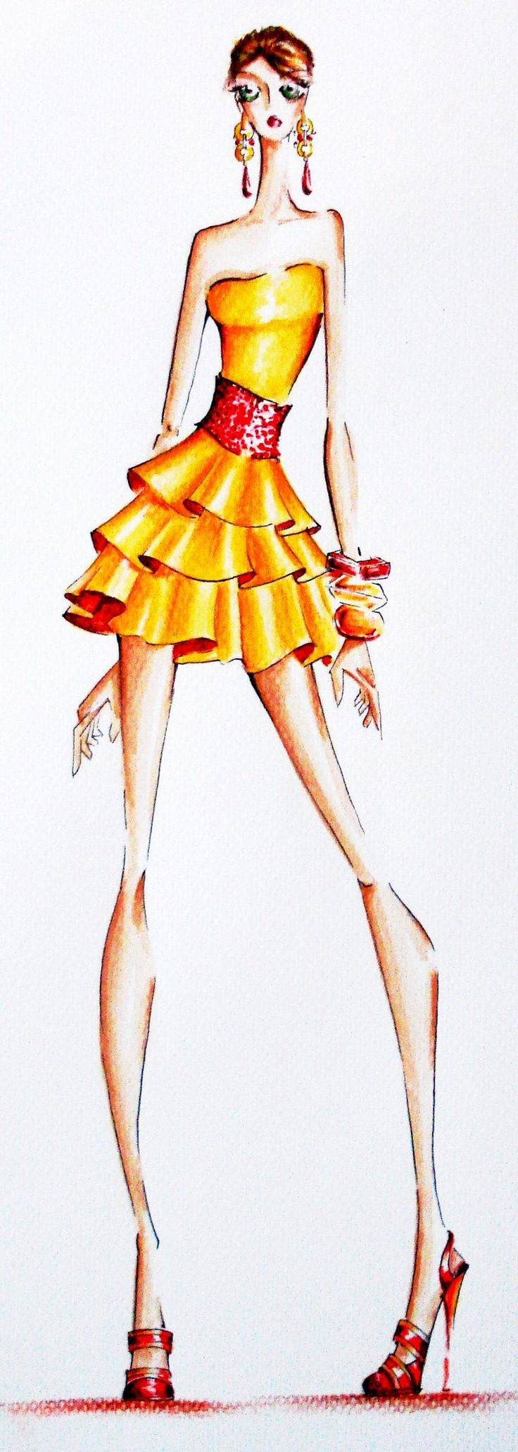 Yellow Dress by robzae on deviantART---like the croquis