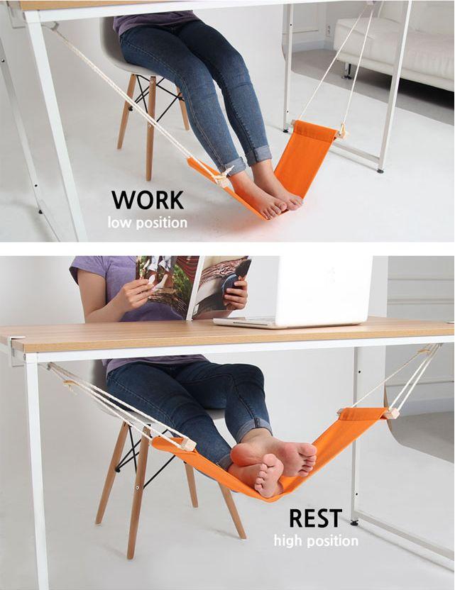 Das Teil de Woche ist ein wunderbares Büro-Gadget. Eine Tischhängematte für die Füße.