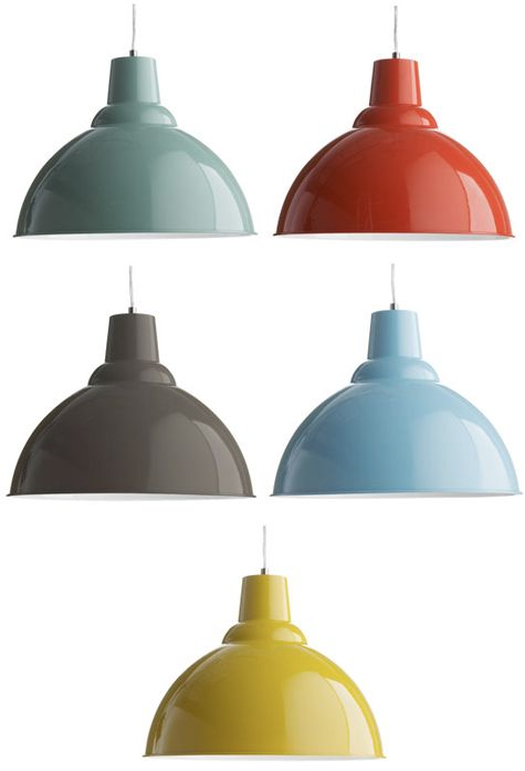 Red pendant lamp - perfect for over the future kitchen sink.
